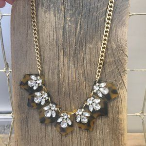 J. Crew tortoise shell + rhinestone necklace